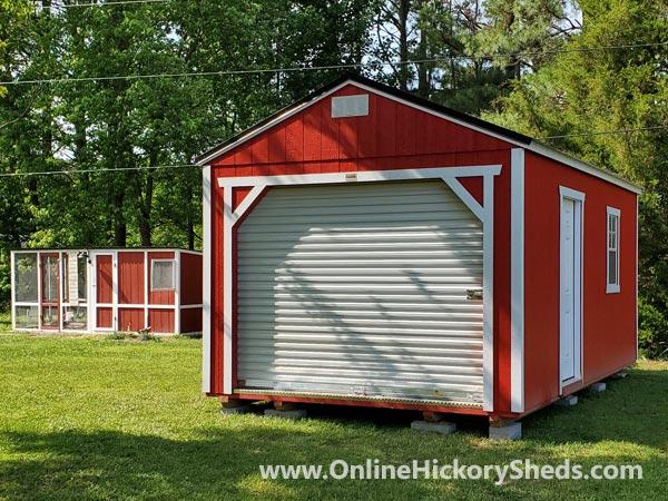 Hickory Sheds Utility Garage Scarlet Red White Trim