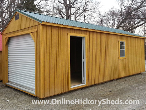 Hickory Sheds Utility Garage Stained Honey Gold