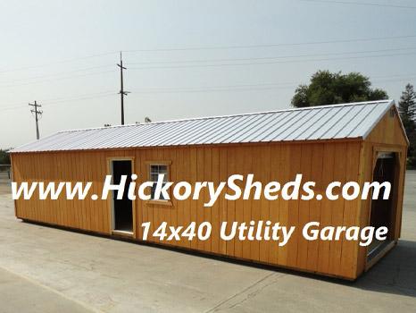 Hickory Sheds Utility Garage 14x40 Single Door