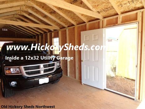 Hickory Sheds Utility Garage Truck Parked Inside