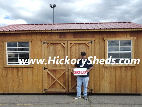 A man happy with his new Hickory Shed