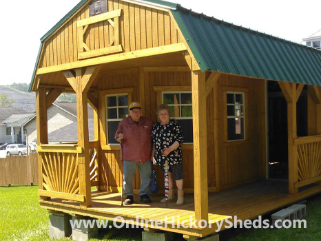 A couple happy with their new Hickory Shed