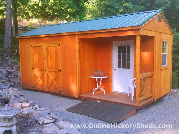 Hickory Sheds Utility Side Porch with 9 Lite Door