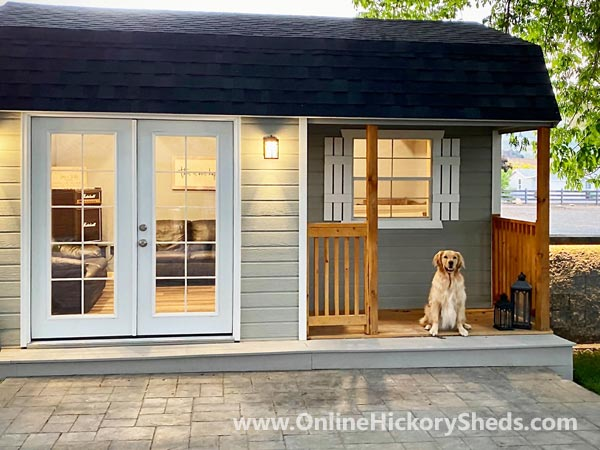 Hickory Sheds Lofted Side Porch with Black Shingles