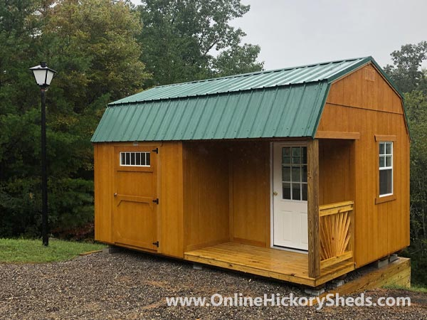 Hickory Sheds Lofted Side Porch Stained Honey Gold with Hunter Green Metal Roof