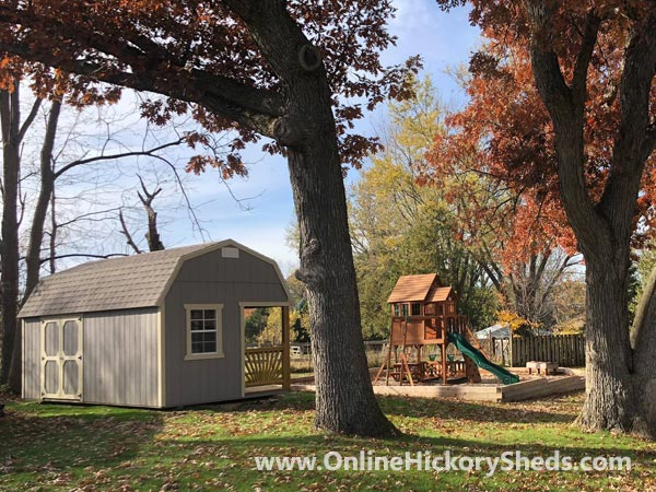 Hickory Sheds Lofted Side Porch Painted Gap Gray with White Trim