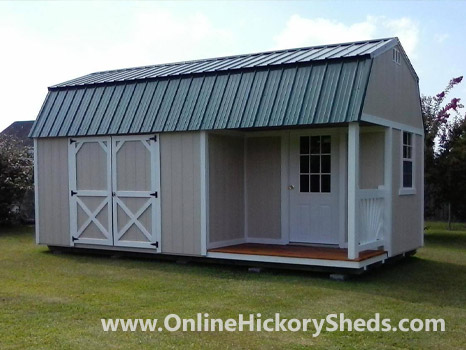 Hickory Sheds Lofted Side Porch Painted Beige