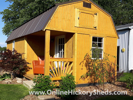 Hickory Sheds Lofted Side Porch Stained Honey Gold