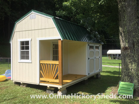 Hickory Sheds Lofted Side Porch Painted Navajo White