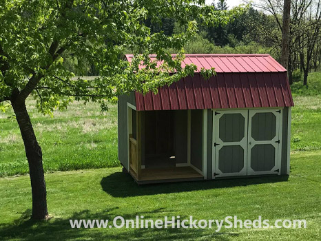 Hickory Sheds Lofted Side Porch Small with Rustic Red Metal Roof
