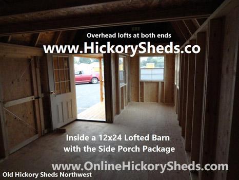 Hickory Sheds Lofted Side Porch Inside
