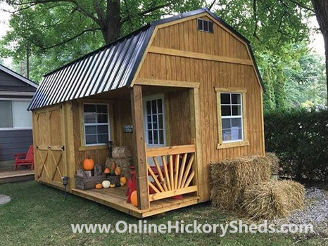 Hickory Sheds Lofted Side Porch Stained Chestnut Brown