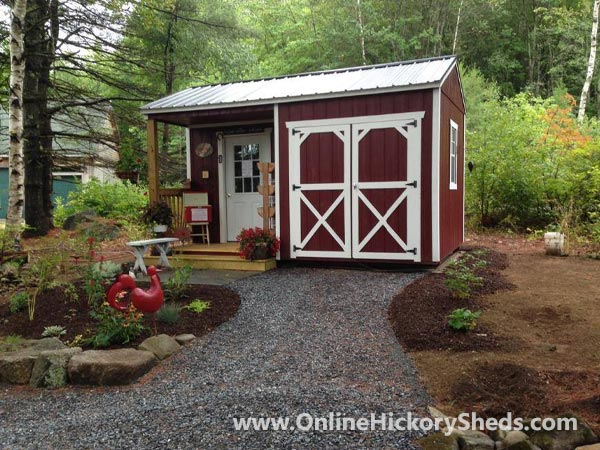 Hickory Sheds Utility Side Porch with Double Barn Doors