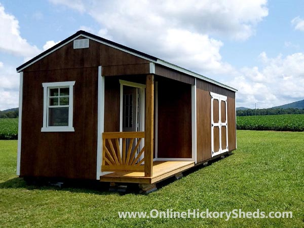 Hickory Sheds Utility Side Porch Painted Brown with White Trim