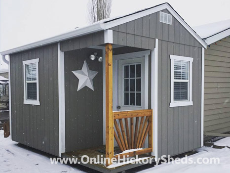 Hickory Sheds Utility Side Porch Painted Gray Shadow