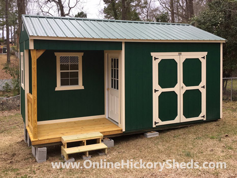Hickory Sheds Utility Side Porch Painted Evergreen