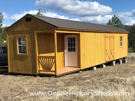 Hickory Sheds Utility Side Porch with Double Barn Doors and Window