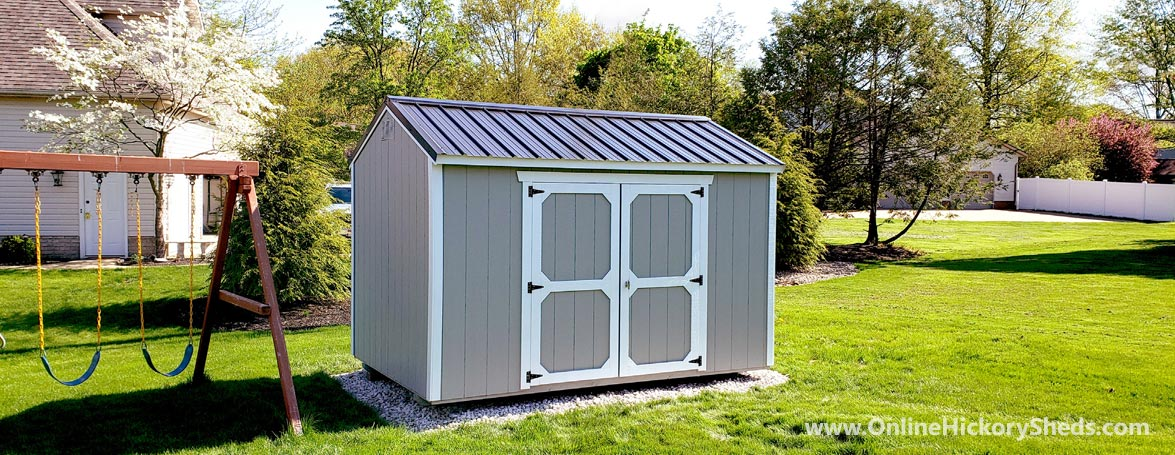 Hickory Sheds Side Utility Shed Painted Gap Gray with Double Barn Doors