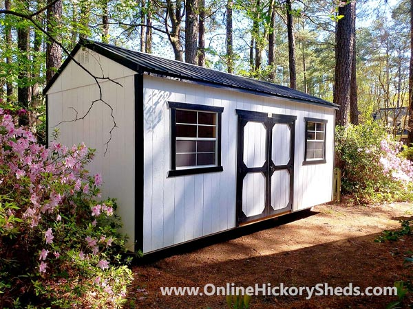 Hickory Sheds Side Utility Painted Barn White with Black Trim
