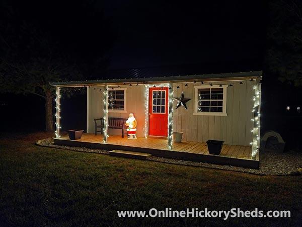 Hickory Sheds Side Utility with Christmas Lights