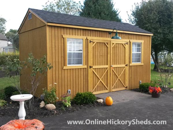 Hickory Sheds Side Utility Stained Honey Gold