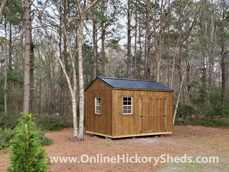 Hickory Sheds Side Utility Shed Stained Chestnut Brown