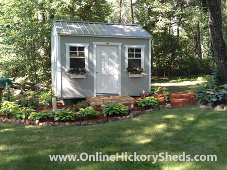 Hickory Sheds Side Utility Shed with Silver Metal Roof