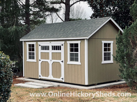 Hickory Sheds Side Utility with Double Barn Doors and Shingle Roof