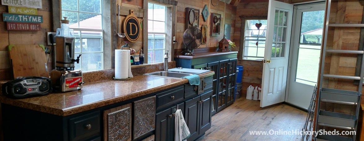 Hickory Sheds Lofted Tiny Room Kitchen