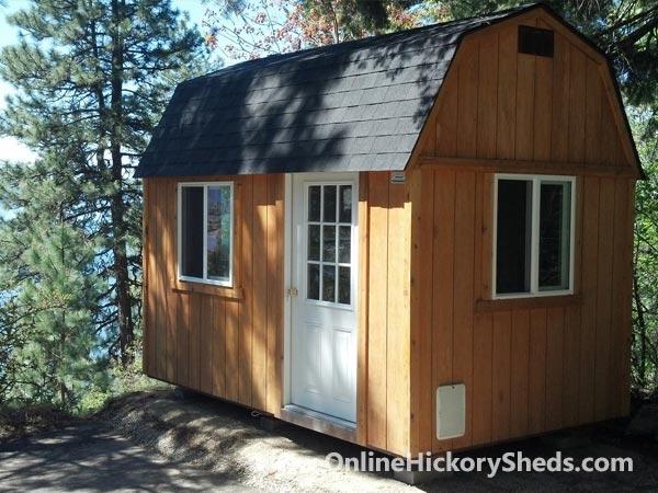 Hickory Sheds Lofted Tiny Room with Shingles