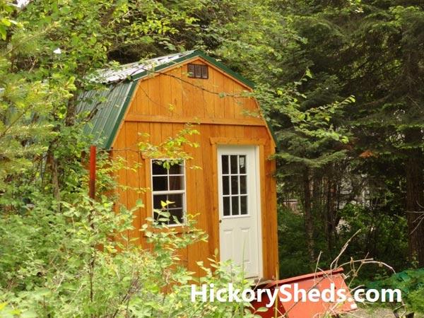 Hickory Sheds Lofted Tiny Room Honey Gold