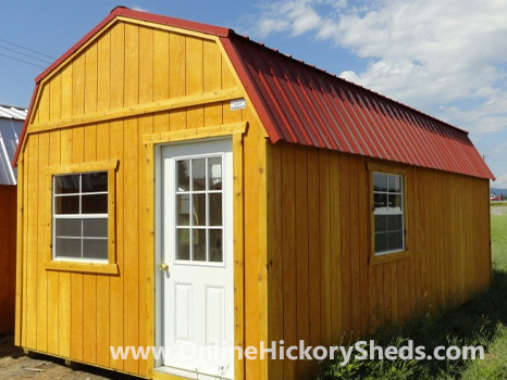 Hickory Sheds Lofted Tiny Room Rustic Red Roof