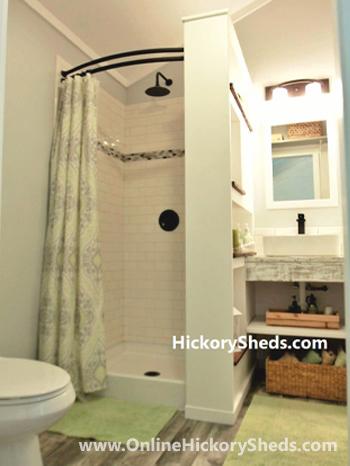 Hickory Sheds Lofted Tiny Room Bathroom