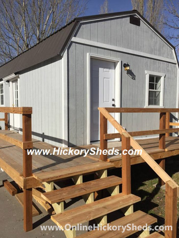Hickory Sheds Lofted Tiny Room Custom Deck