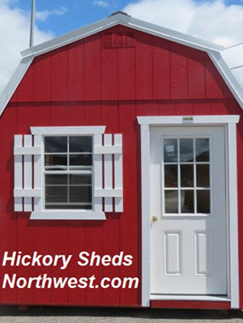 Hickory Sheds Lofted Tiny Room Painted Scarlet Red