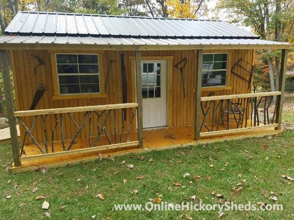 Hickory Sheds Utility Tiny Room with Custom Log Side Porch