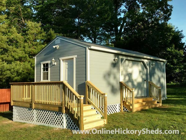 Hickory Sheds Utility Tiny Room with Front Deck and Side Garage Door