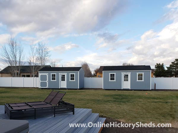 Hickory Sheds Utility Tiny Rooms Doubled Up in Gap Gray