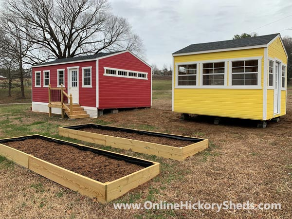 Hickory Sheds Utility Tiny Rooms Garden Shed Double Up with a Splash of Color