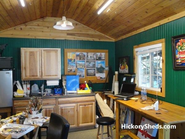 Hickory Sheds Utility Tiny Room Artist Retreat Inside