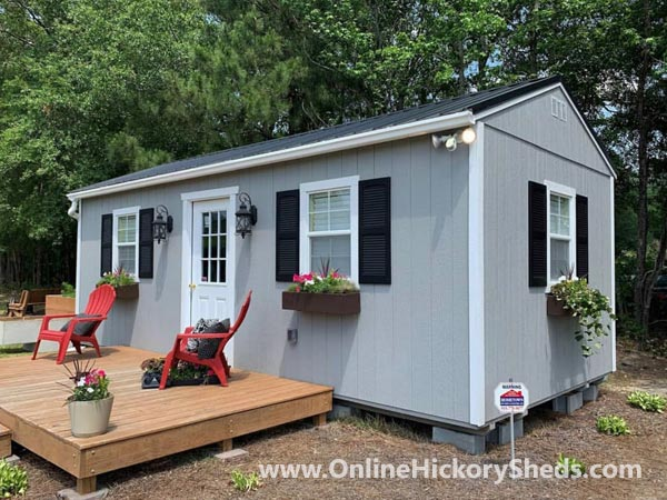 Hickory Sheds Utility Tiny Room with Window Shutters