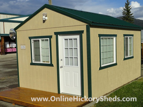 Hickory Sheds Utility Tiny Room Hunter Green Metal Roof