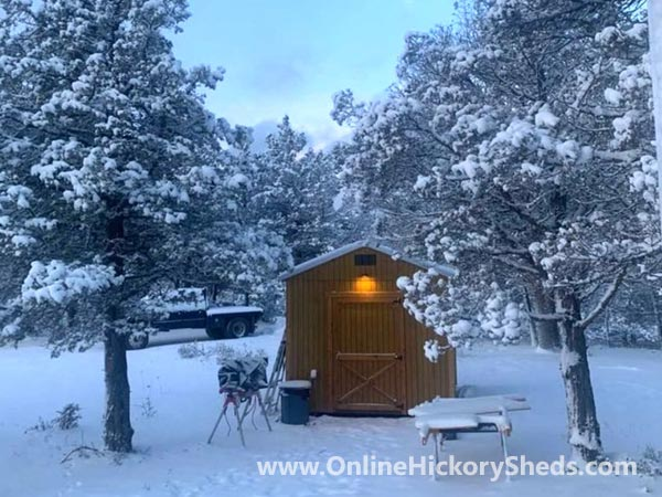Hickory Sheds Utility Shed Stained Honey Gold with Front Light