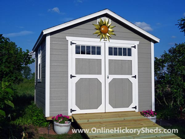 Hickory Sheds Utility Shed Double Barn Doors with Ramp