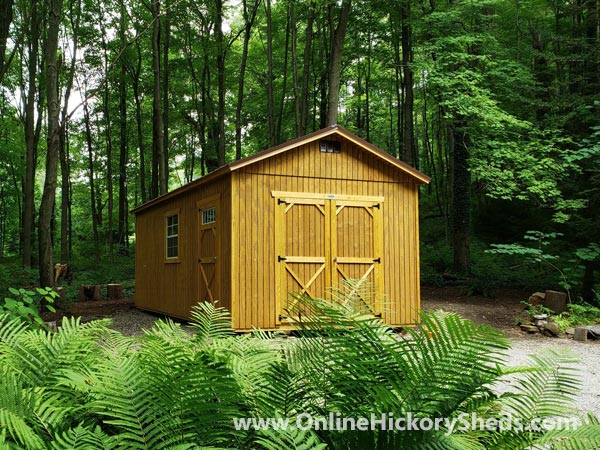 Hickory Sheds Utility Shed Honey Gold Double Barn Doors