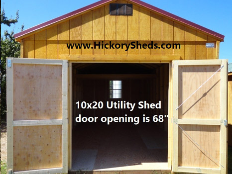 Hickory Sheds Utility Shed Double Barn Doors Open