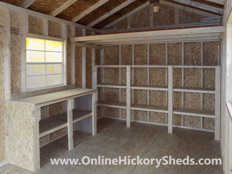 Hickory Sheds Utility Shed with Shelves and Workbench Additions