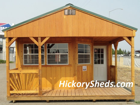 Hickory Sheds Utility Shed with Deluxe Wrap Porch Front View