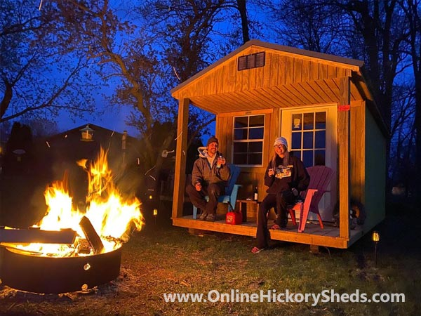Enjoying our Hickory Shed Front Porch by campfire